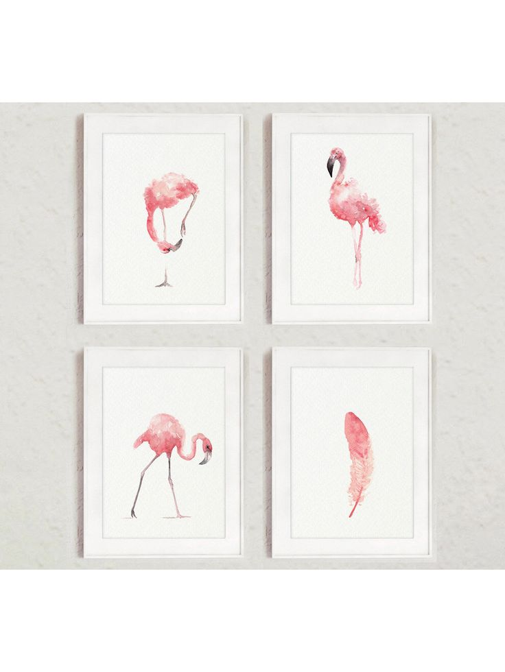 Flamingo whimsical art print set 4 pink kids nursery room for Flamingo feather paint