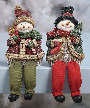 Take a look at this Resin Glitter Snowman Shelf Sitter Set by Transpac Imports on #zulily today!