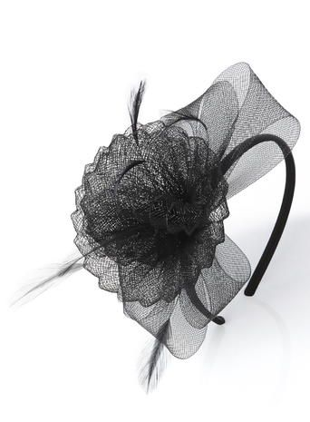 Black Pleated Crin Swirl Headband Fascinator