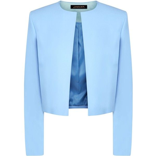Jaeger Contrast fabric cropped jacket ($155) ❤ liked on Polyvore featuring outerwear, jackets, blazer, blue, clearance, blue jackets, collar jacket, open front jacket, blue cropped jacket and cropped jacket