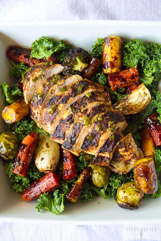 Paleo Kale Salad with Chicken, Roasted Veggies and Orange Sesame Vinaigrette