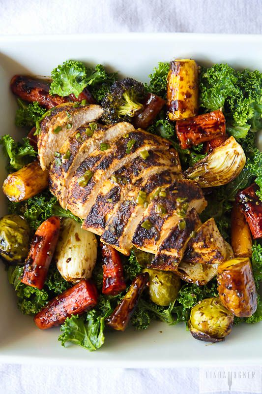 ... Kale Salad with Chicken, Roasted Veggies and Orange Sesame Vinaigrette