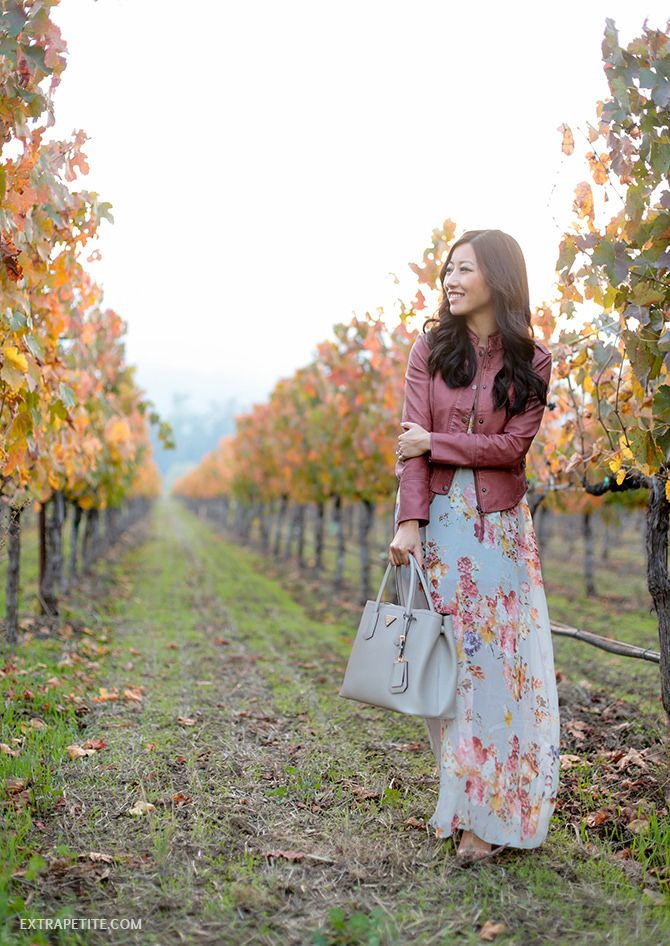 wine country wear maxi dress anthropologie petite leather jacket