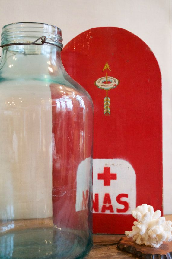 Vintage Navy Life Preserver Kickboard by ApothecaryD on Etsy