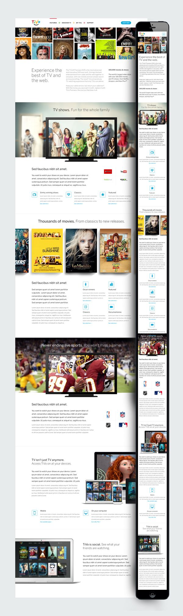 RWD preview *** A quick mock to show side by side desktop/mobile comparison of the TiVo responsive layout. by Haraldur Thorleifsson, via Dribbble