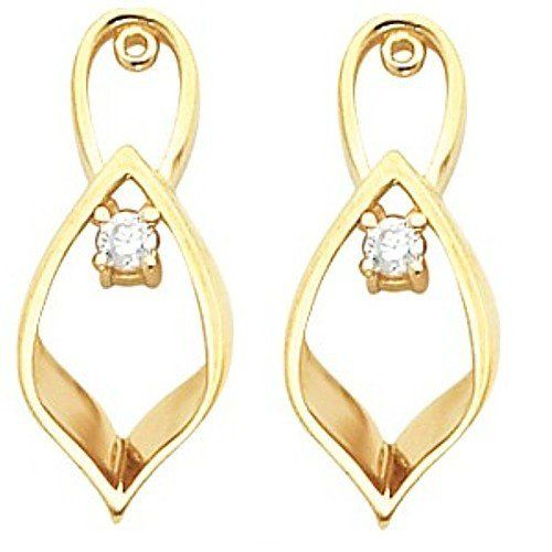 Pair of 14K Yellow Gold Diamond Earring Jackets - 0.16 Ct. Gems-is-Me. $798.49. This item will be gift wrapped in a beautiful gift bag. In addition, a 'gift message' can be added.. FREE PRIORITY SHIPPING. Save 40%!