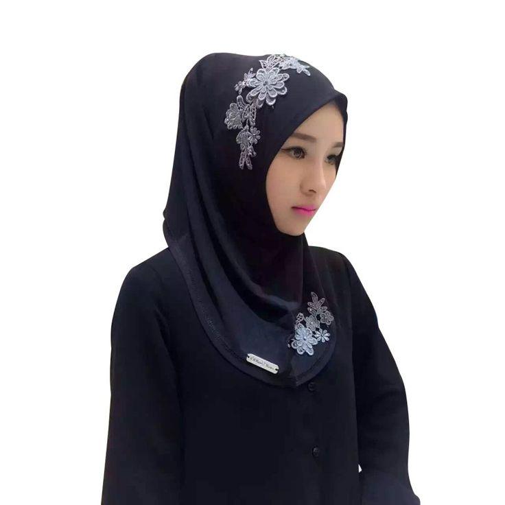 2017 핫 패션 아름다운 이슬람 레이스 자수 꽃 모자 히잡 이슬람 전체 커버 스카프 모자 빈티지