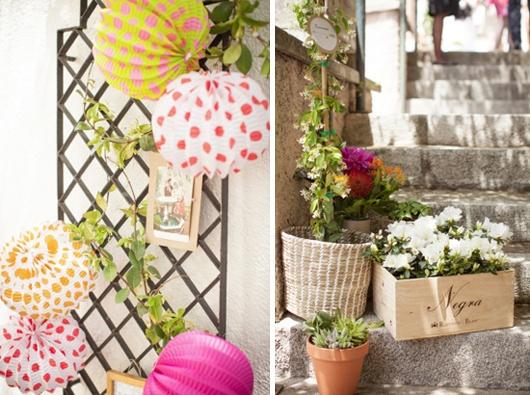 Decoración de bodas: inspiración flamenca con farolillos y mantones de manila {Diseño de Marlett}