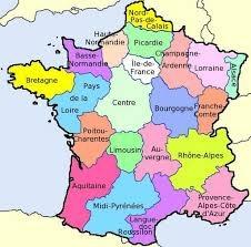 kaart van frankrijk met departementen -
