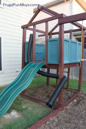 Use plastic drain pipe to add some fun to your kids' play set!  Also ideas for rain gutter water play.