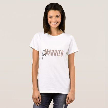 #Minimal pink hand lettered 'Just Married' TShirt - #bride gifts #bridal ideas unique personalize