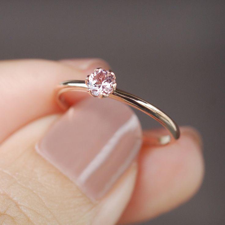champagne ring, tiny gemstone ring, dainty engagement ring, delicate ring, Malaya garnet ring