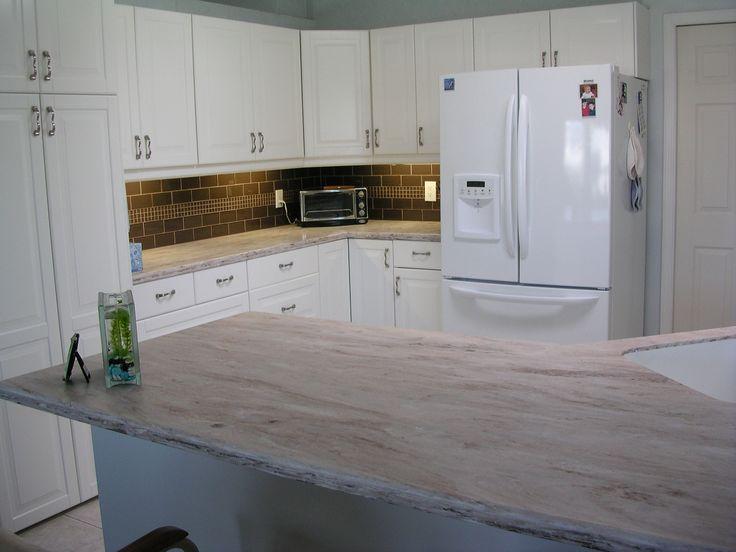 Blue Ceramic Tile Kitchen Countertop