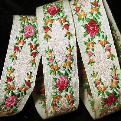 Antique Victorian WOVEN ROSES RIBBON Trim French Jacquard Vintage Millinery Doll