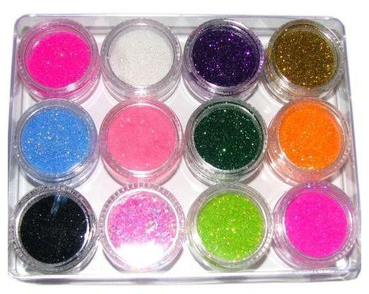 Decoratie Glitter 12 potjes A81