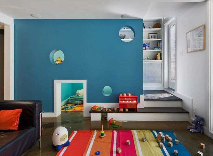 Play room with cut out door and windows