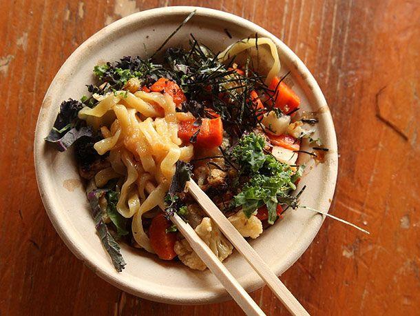 Yuji Ramen - miso roasted vegetable mazemen: seasonal vegetables (cauliflower, carrot, and turnip) coated in a barley-based miso sauce with shredded kale and seaweed