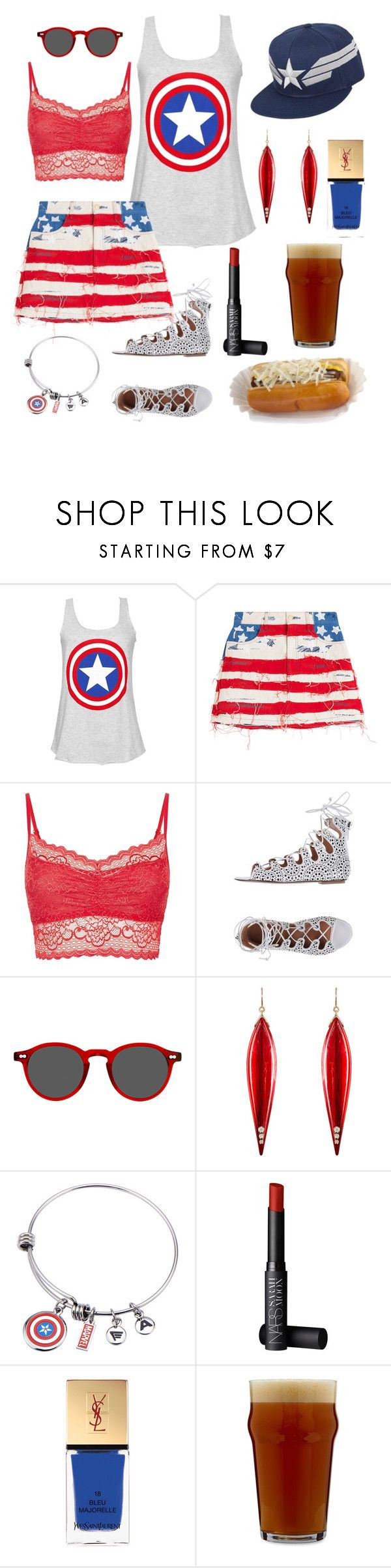 """""""4th of July BBQ as the Captain"""" by pale-readhead ❤ liked on Polyvore featuring Marc Jacobs, Hanky Panky, Alaïa, Moscot, Mark Davis, NARS Cosmetics, Yves Saint Laurent and Bormioli Rocco"""