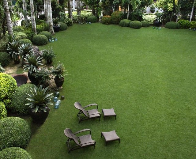 A lawn bordered by Chinese-style clipped bushes, potted bromiliads,  designed by Ponce Veridiano in Bacolod City, Philippines.
