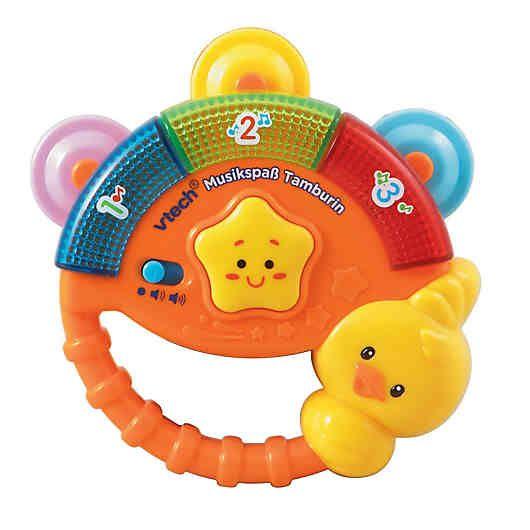 Mit dem Musikspaß Tamburin von Vtech Baby erleben kleine Musikanten tollen Spielspaß! <br /> <br /> Durch Drücken der Taste werden gesprochene Sätze und lustige Geräusche ausgelöst und Ihr Kind lernt erste Zahlen kennen. Wird das Tamburin geschüttelt, wird der Bewegungssensor aktiviert und lustige Melodien werden abgespielt die Ihr Kind begeistern werden und den Musikspaß perfekt machen.<br /> <br /> +++ Details +++<br /> + Musikspielzeug mit Sound- & Leuchtfunktion<br /> + Fröhliche Musik…