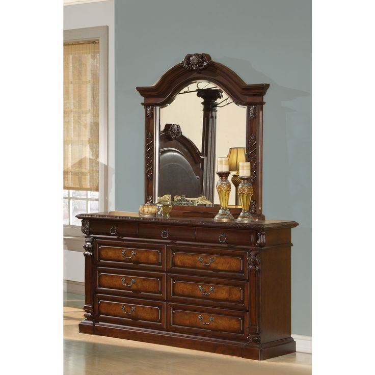 Lyke Home Jules Cherry Wood Dresser and Mirror Set (Jules Dresser Mirror Set), Brown, Size 9-drawer