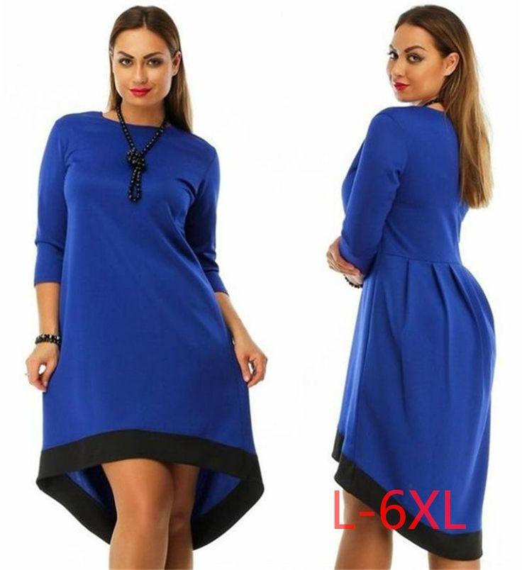 5xl 6xl 대형 2017 봄 겨울 dress 큰 크기 캐주얼 레드 블랙 dress 비대칭 dress 플러스 사이즈 여성 의류 vestidos