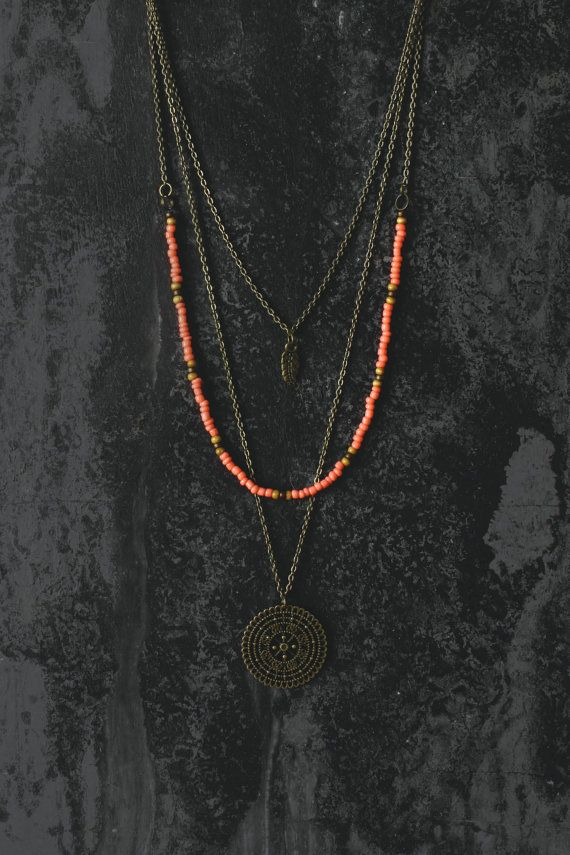 Boho necklace layered necklace hippie necklace by AnankeJewelry