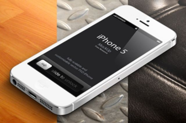 This is the white version of our 3D view iPhone 5 vector mockup template with a new set of high quality...