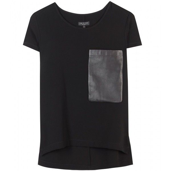 Rag & Bone New Basic T-Shirt With Oversized Leather Pocket found on Polyvore