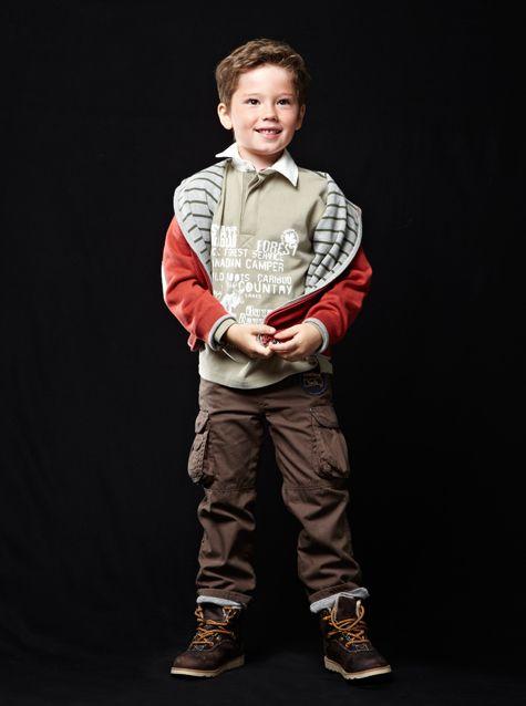 #cardigan zippé réversible / #polo imprimé / #pantalon à poches / #bottines en #cuir - Collection automne hiver 2013 - www.vertbaudet.fr