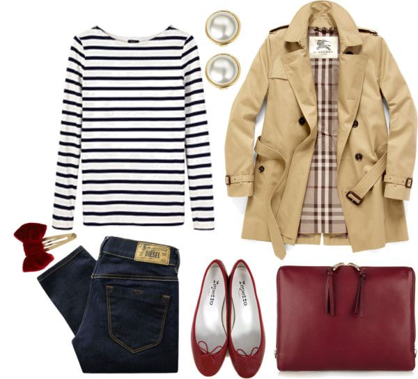 Dark blue jeans with white and black striped shirt, cream colored trench coat and deep red accessories: