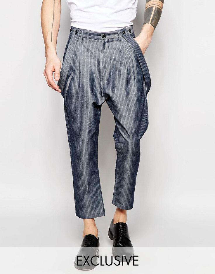 Image 1 - Black Eye Rags - Pantalon à entrejambe bas avec fines rayures
