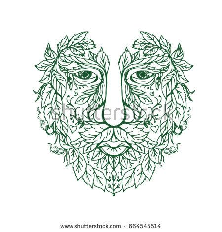 Illustration of a Green Man Head  viewed from Front done in hand drawing sketch style Mandala.  #greenman #mandala #illustration
