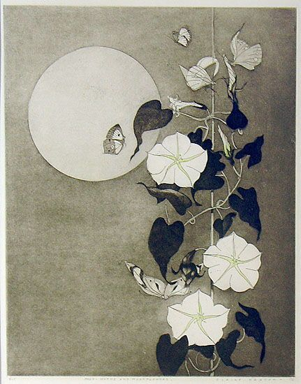 Elaine Haxton(Australian, 1909-1999)  Moon, Moths and Moonflowers    1976  Hand-coloured etching with aquatint