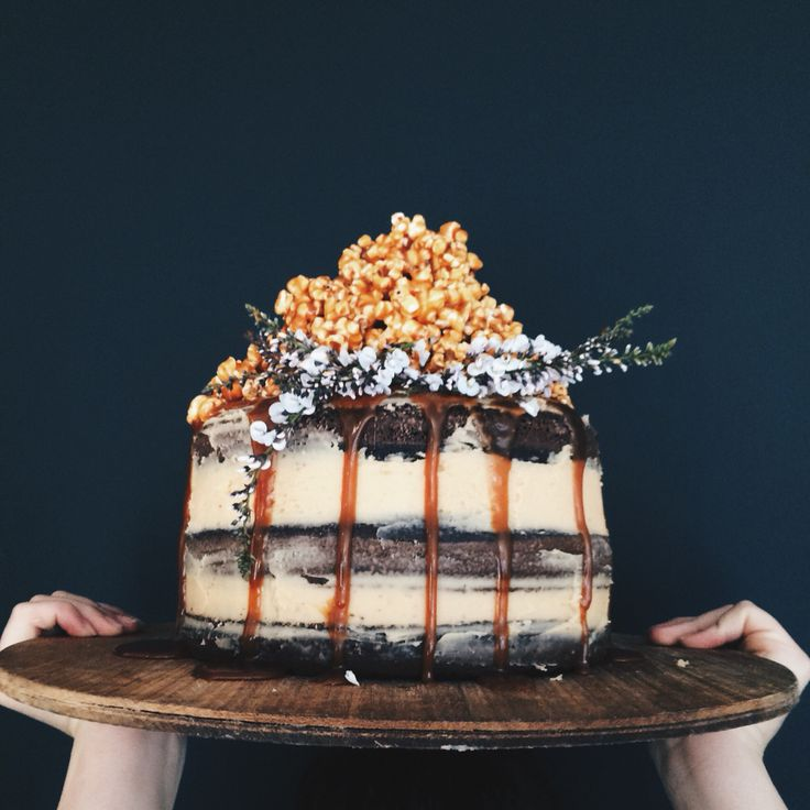 triple layer chocolate cake w/ salted caramel butter cream + salted caramel popcorn