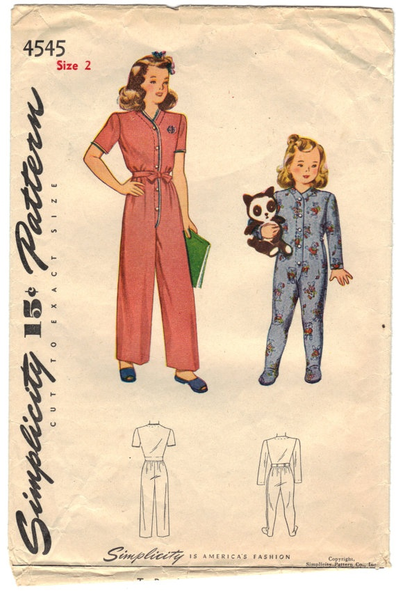 Child's OnePiece Pajama  Size 2 Breast 21 For Sale by BearyAmazingEmporium
