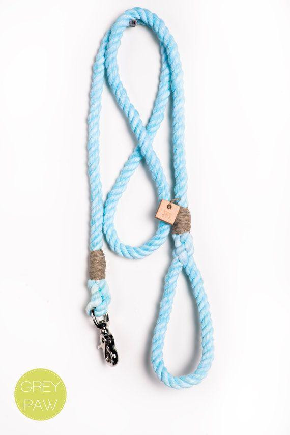 Dog leash, pet accessory, animal supplies: Medium marbled sea foam rope leash