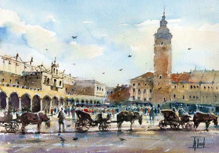 #Cracow, #Poland #Watercolour - 21cm x 30cm Jaroslaw Glod - http://www.artende.pl