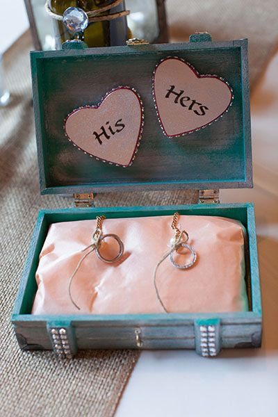 "I like this SO much better than a pillow! Craft a custom box for your wedding rings; not only will it look adorable when your ring bearer carries it down the aisle, but you can use it to hold your rings long after you say ""I do."""