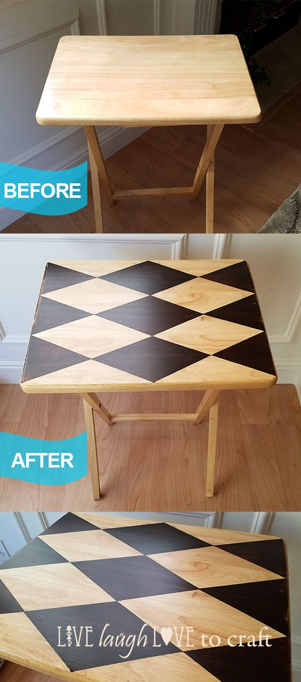 TV Tray Makeover - Harlequin Pattern Diamonds - Gel Stain                                                                                                                                                                                 More