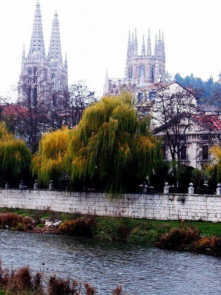 Rio Arlanzón, al fondo Catedral de Santa María, Burgos, Castilla y León, España