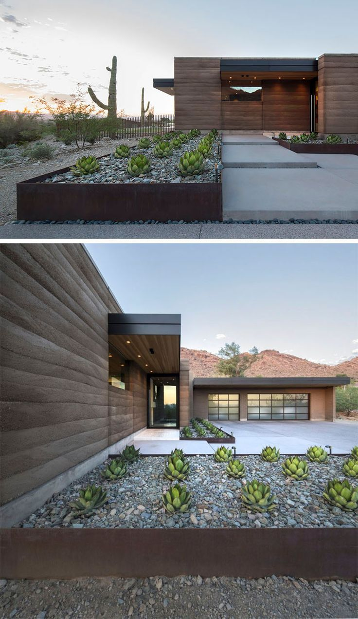 9 Ideas For Including Weathering Steel Planters In Your Garden // The rows of succulents and large rocks within these weathered steel planters help make the front of this desert house welcoming and increase the home's curb appeal.