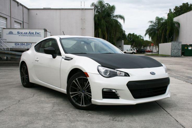 Miami Subaru BRZ Custom Carbon Fiber Wrapped Hood & Mirrors  http://carwrapsolutions.com/matte-black-wrap-carbon-fiber-racing-stripe.html