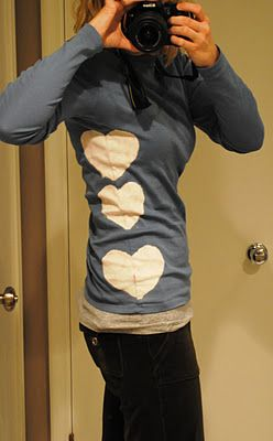 bleach pen shirt: I would actually do the hearts out of another fabric, bleaching clothings makes it less resistant