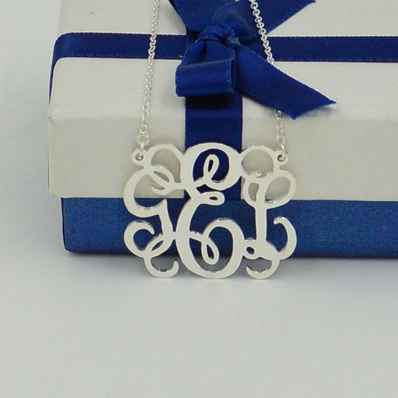 Monogram necklace,1.25 inch sterling silver monogrammed gifts for lover,Personalized gift for Valentine's day