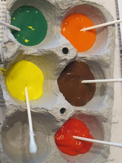 """Painting with cotton swabs - use an egg carton to hold the paint ("""",)"""