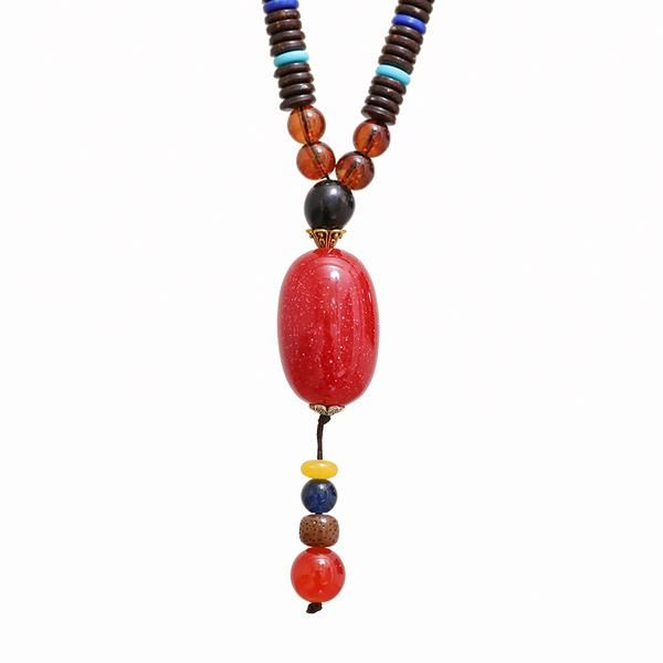 Red Agate Pendant Round Wooden Beads Necklace