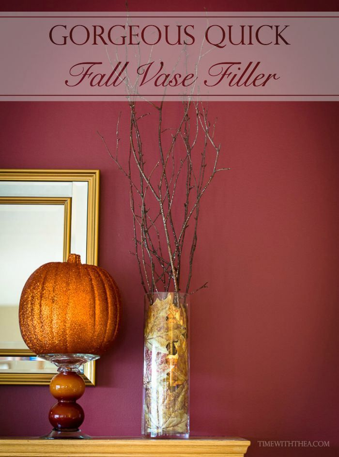 Gorgeous Quick Fall Vase Filler ~ Create an inexpensive vase with fall branches and silk leaves perfect for a fireplace mantel in 2 minutes! |Time With Thea