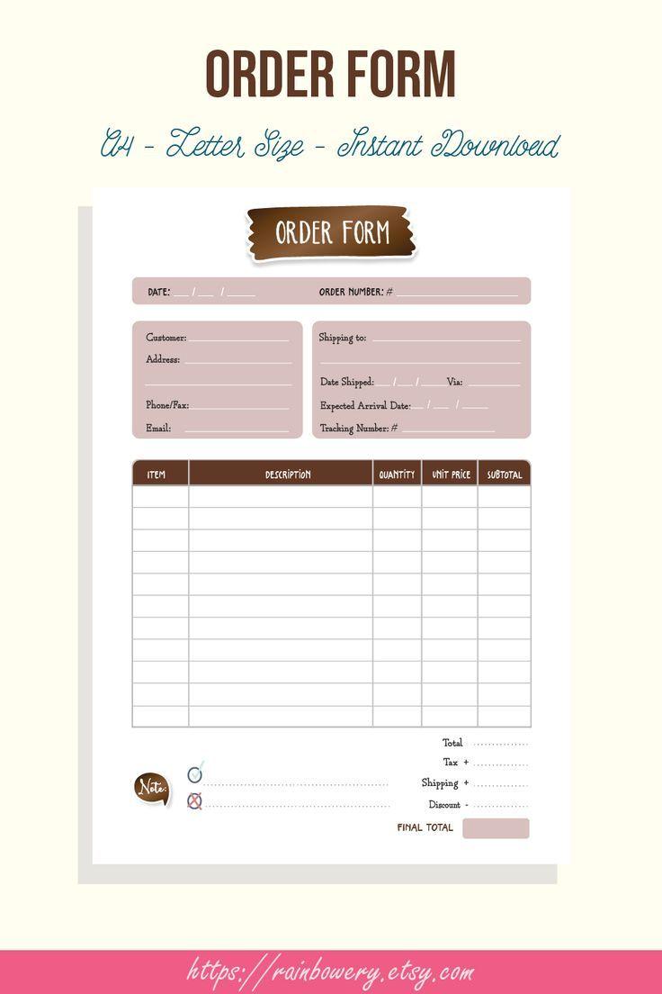 Order Form Template Printable Small Business Order Form Invoice Template Generic Order Form Blank Order Form Template Invoice Printable Kartu Nama Bisnis Desain Pamflet Ilustrasi Bisnis