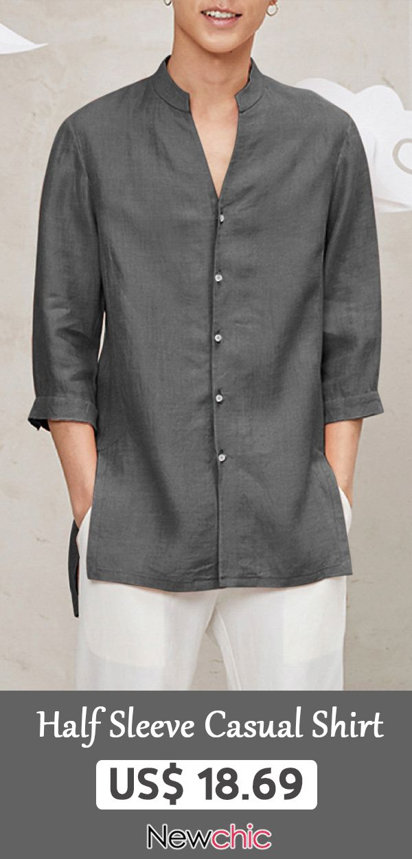 1eb17b47 Chinese Style Casual Streetwear Cotton Linen Half Sleeve Men's Shirts